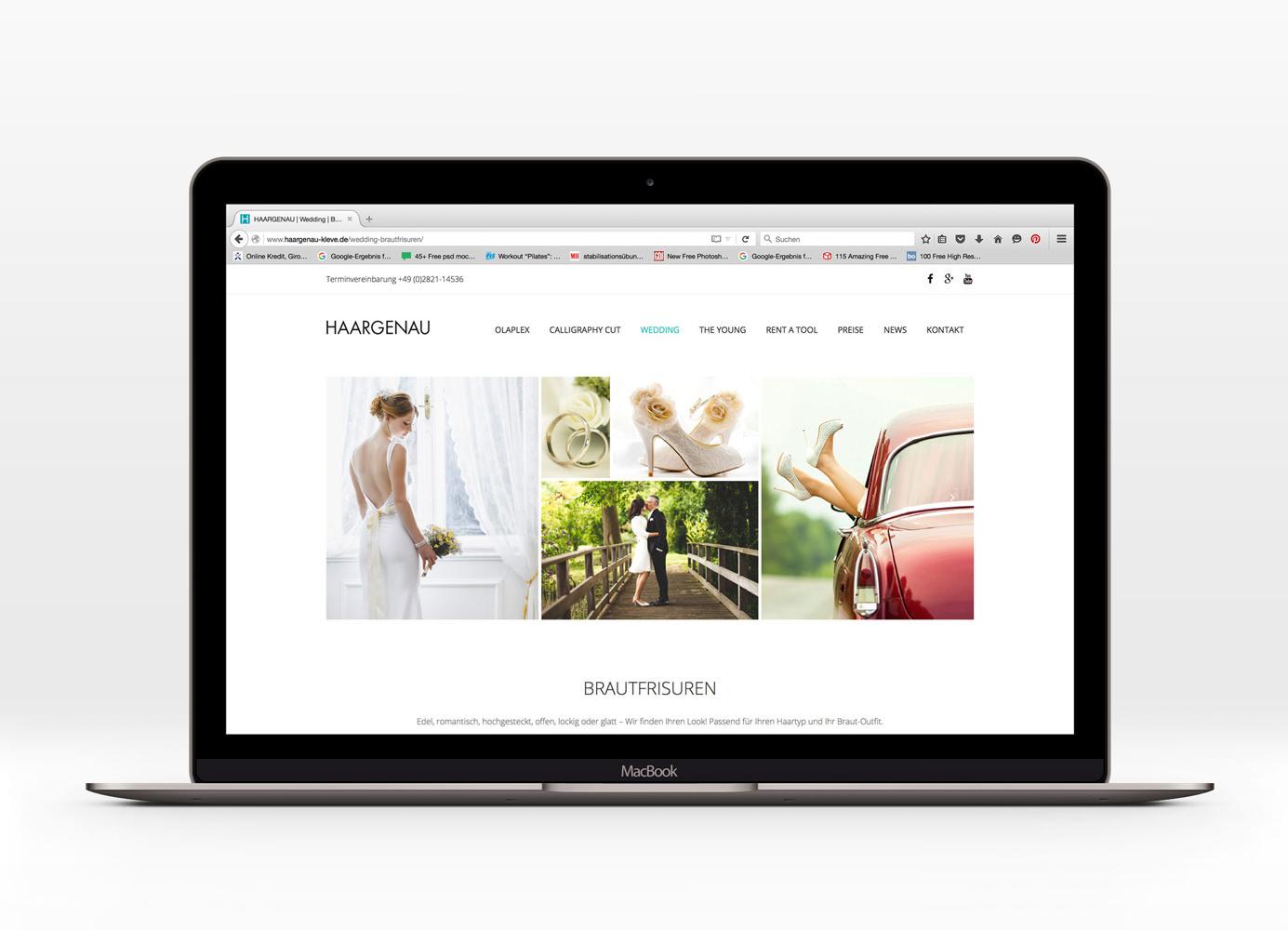 Gestaltung Webseite Haargenau Hochzeitsfrisuren