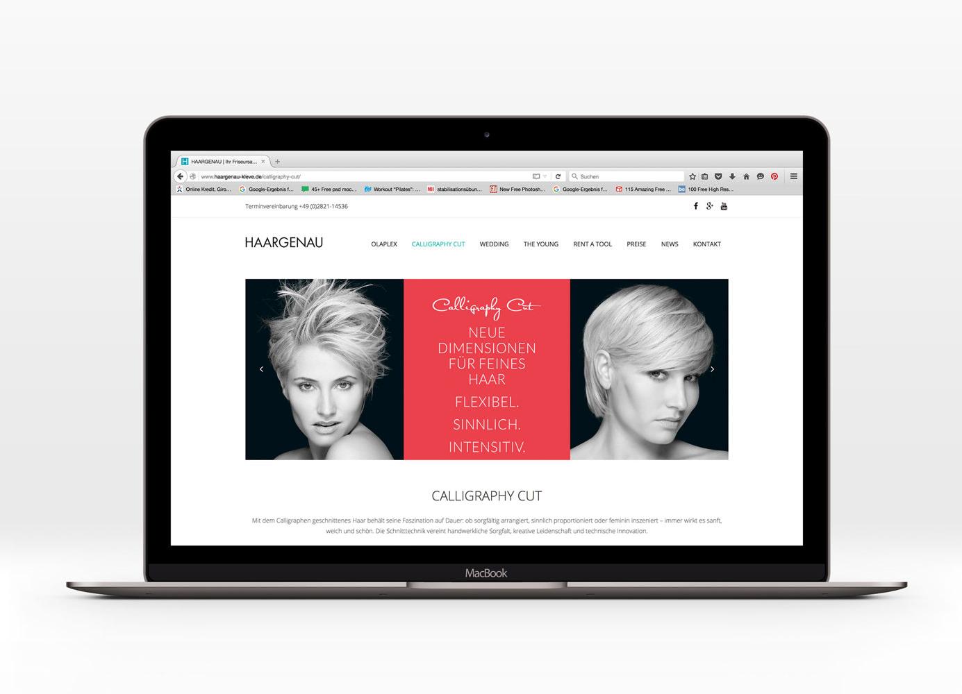 Gestaltung Webseite Haargenau, Frisuren