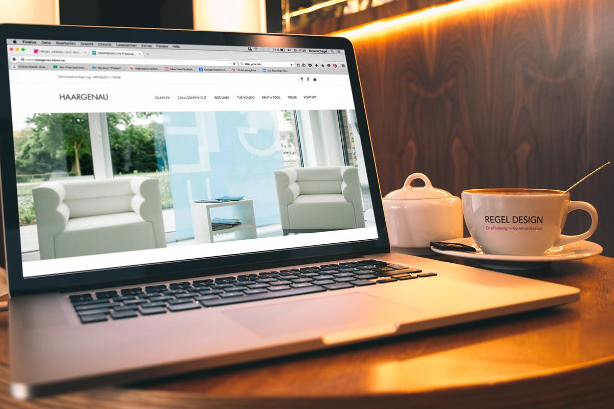 Gestaltung Webseite Haargenau, Homepage, Regel Design