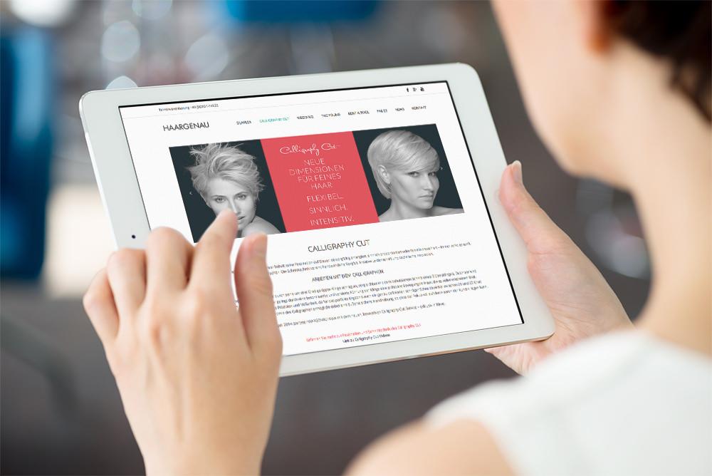 Webseite Haargenau von Regel Design, Team, Darstellung auf dem iPad