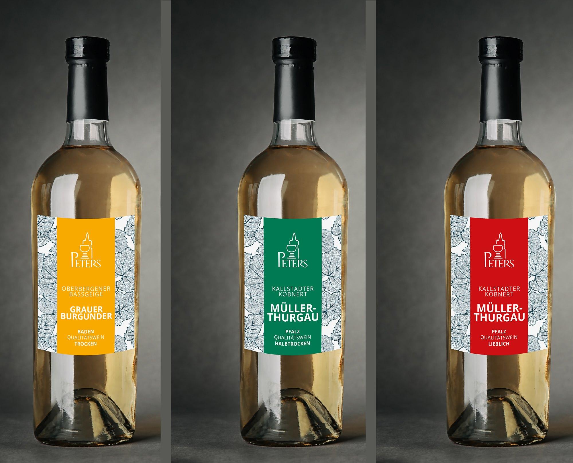 Wein Peters, Gestaltung Weißweinetikett, Etiketten-Design